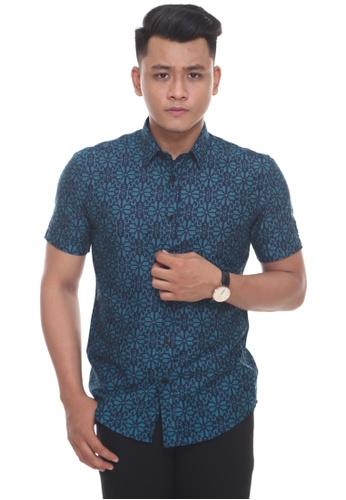 UA BOUTIQUE blue Short Sleeve Shirt Batik SSB04-041 (Navy Blue/ Green Turqoise) 2BEB7AA1316BBBGS_1