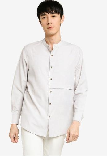 ZALORA BASICS grey Front Panel Detail Long Sleeve Shirt A0C37AA06BC046GS_1