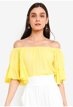 b09bf43ee69 FORCAST yellow Malaya Off-Shoulder Top 6D4C1AAE02FB51GS_1