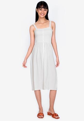ZALORA BASICS white Smocked Midi Dress C89C9AAA96C13DGS_1