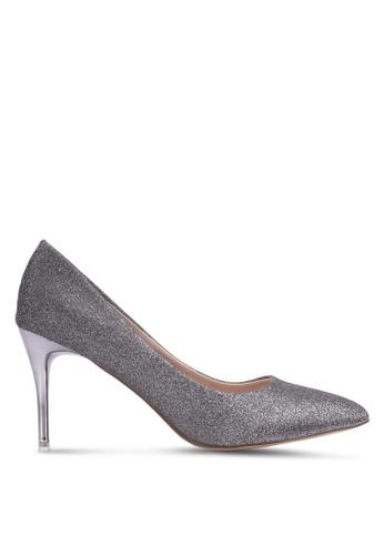 Nose silver Evening Glitter Heel Pumps NO327SH0S6USMY_1