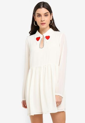 Glamorous white Studded Heart Mini Dress FD02EAA93E27BBGS_1