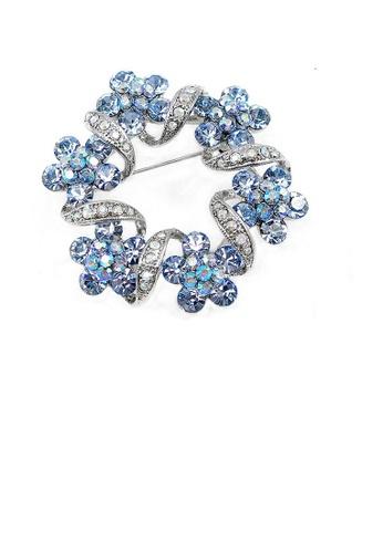 Glamorousky blue Elegant Flower Brooch with Blue Austrian Element Crystal E3410ACB370AF7GS_1