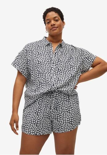 Violeta by MANGO blue Plus Size Printed Short-Sleeved Shirt 3A252AA30FC70BGS_1
