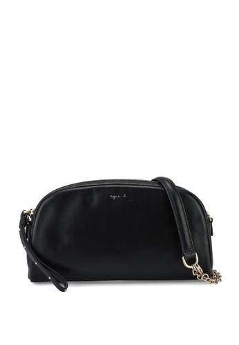 agnès b. black Sling Bag with Chain 444E6AC0E030C8GS_1