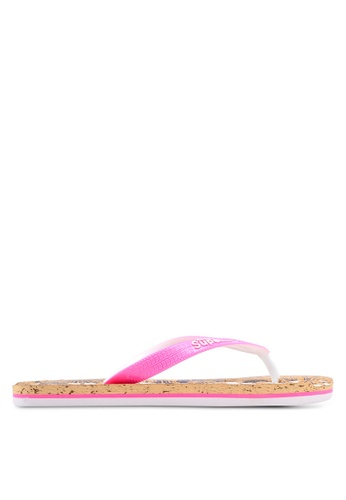 Superdry pink and brown and navy Printed Cork Flip Flops DC05DSH2273005GS_1