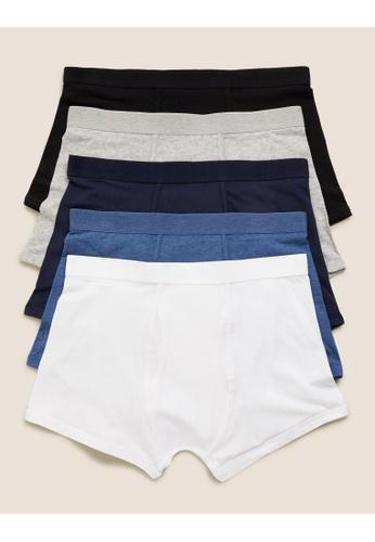 MARKS & SPENCER blue M&S 5pk Cotton Stretch Cool & Fresh Trunks 8865EUS634D311GS_1