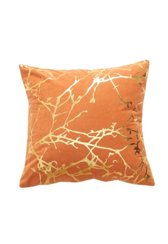 DILAS HOME Tree Branch Gold Print Cushion Cover (Orange) AF835HLEECCA7AGS_1