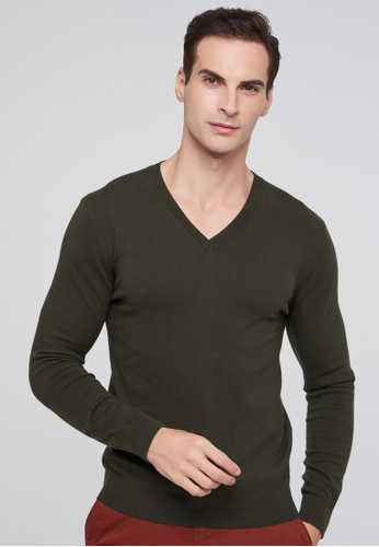Sisley green V-neck Knitted Sweater 636E7AAABB7521GS_1