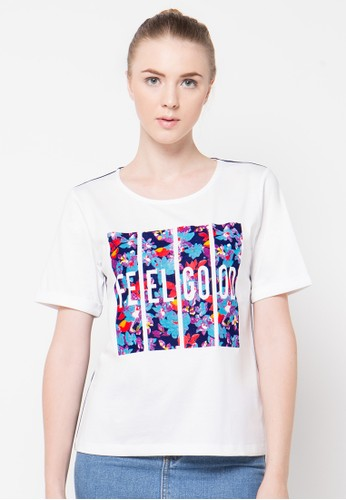 Bossini white S/S R/Nk Flocking Graphic Prt. Tee W/Chambray (Bl: 23 ) BO894AA89UDQID_1