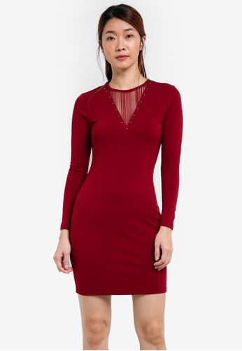 Something Borrowed red Lace Paneled Bodycon Dress With Rings 352B8AA9596C59GS_1
