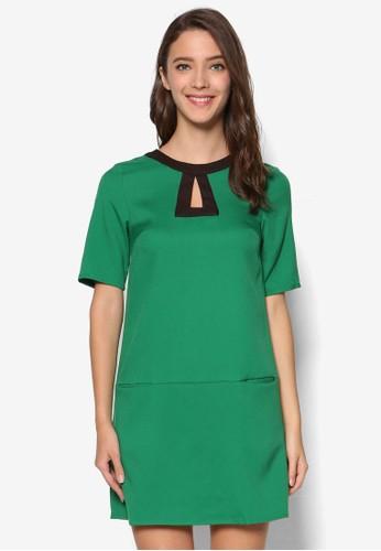 撞色領短袖連身裙, 服飾,esprit台灣門市 洋裝