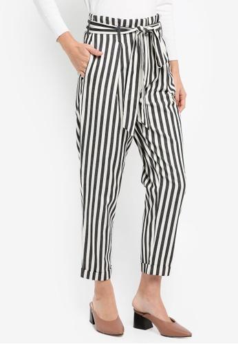 WAREHOUSE multi Stripe Paperbag Peg Trousers 08428AA87E8237GS_1