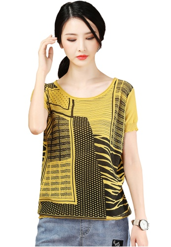 A-IN GIRLS black and yellow Fashion Print Round Neck Sweater D7223AA2204099GS_1