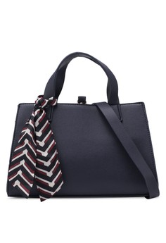 Small Structured Handbag With Scarf Detail