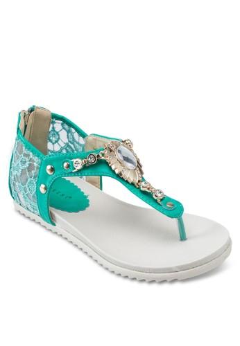 蕾絲T 字帶平底esprit 內衣涼鞋, 女鞋, 鞋