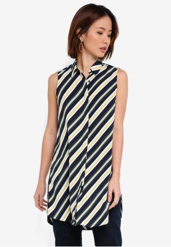 Dorothy Perkins green Green Stripe Long Line Shirt FF46AAA33ADA50GS_1