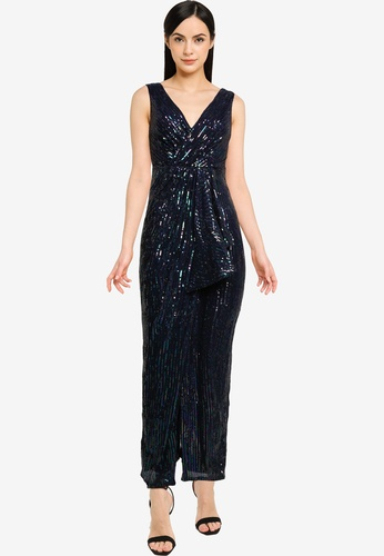 Goddiva multi Handkerchief Sequin Maxi Dress With Split C1E3CAA1BA672CGS_1