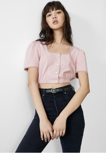 Pomelo pink Embroidered Accent Crop Top - Pink F0621AAF8F1D8CGS_1