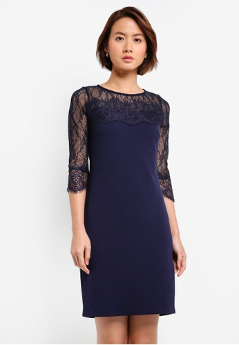 Wallis navy Petite Navy Lace Shift Dress C984DAAB948BE7GS_1