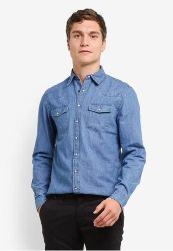 MANGO Man blue Slim-Fit Denim Shirt MA449AA0RSB9MY_1