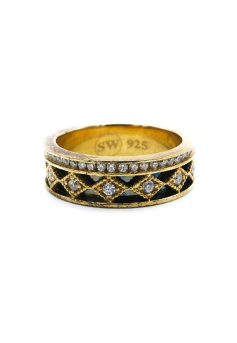 Silverworks silver Gold Plated Diamond Ring SI696AC63RSQPH_1