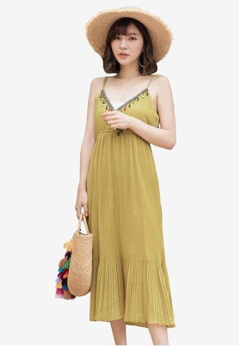 Tokichoi yellow Boho Deep V-Neck Cami Dress B0CA2AA41EF622GS_1