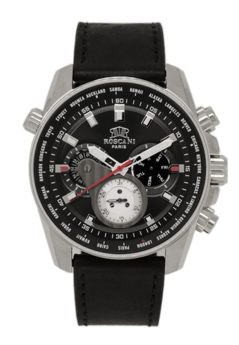 Roscani black Roscani Chase 986 (Multifunction + WR 5ATM) Stainless Steel Black Leather Men Watch BE684ACA166DD8GS_1