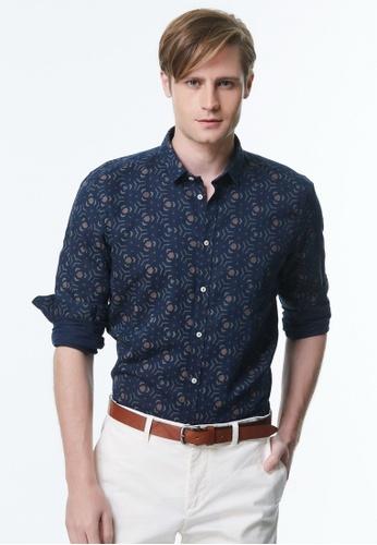 Sisley blue Printed Shirt. 5F605AA2B670DDGS_1