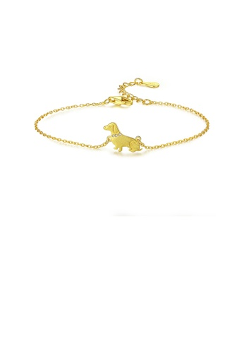 Glamorousky white 925 Sterling Silver Plated Gold Simple Fashion Puppy Bracelet with Cubic Zirconia E721BAC1531190GS_1