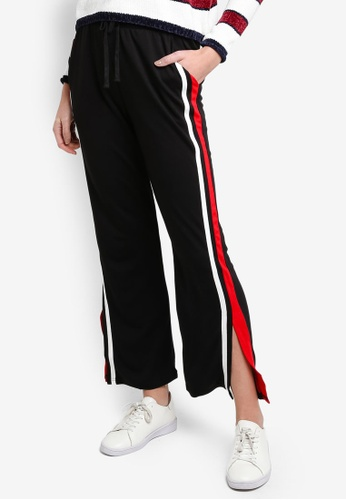 6IXTY8IGHT black Track Pants With Side Tape CF13DAA925BC21GS_1