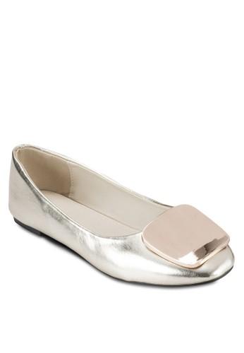 金屬扣環圓頭平底鞋, 女鞋esprit童裝門市, 芭蕾平底鞋