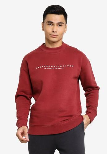 Abercrombie & Fitch red Trend Logo Mock Crew Sweatshirt 81C67AA1DB0925GS_1