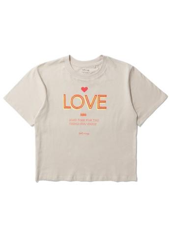 """tout à coup beige """"Love"""" print tee E42CFAA6FC00A4GS_1"""