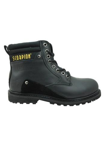 midzone black Genuine Leather Steel Toe Safety Boots MI949SH04WJVMY_1
