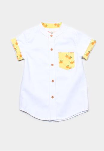 Mini Moley white Mandarin Orange Print Mandarin Collar Boy's Short Sleeve Shirt DC52BKAEB219EEGS_1