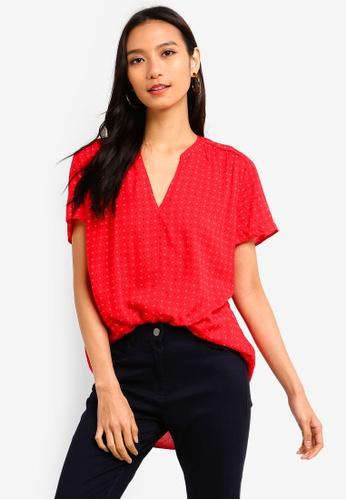 c4fb110d6db15 ESPRIT red Woven Short Sleeve Blouse 880D7AA8D1435EGS 1