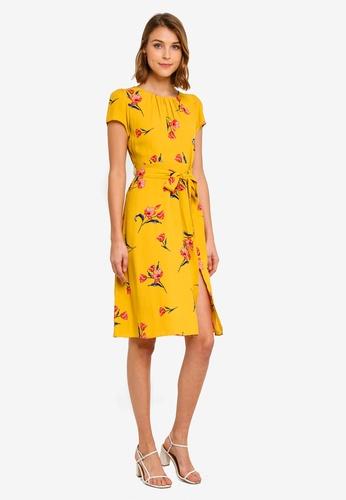 ac0319ce3b95 Buy Dorothy Perkins Petite Ochre Floral Midi Dress Online   ZALORA Malaysia