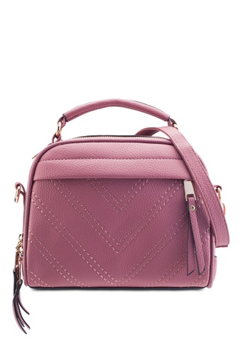 Bagstationz purple Bagstationz Quilted Convertible Satchel With Top Handle BA607AC82KJHMY_1