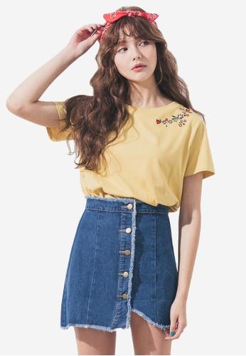 Sesura navy Rough Asymmetry Denim Skirt C68A8AA4E63292GS_1
