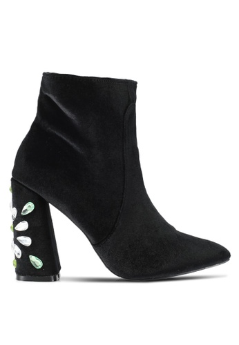 Public Desire black Reverend Velvet Gem Heel Detail Ankle Boots PU378SH0SIP5MY_1