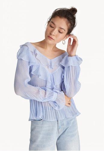 4ab2a8d97dda1 Buy Pomelo Semi Off Shoulder Blouse - Blue Online on ZALORA Singapore