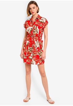 8858c81bcdc8 Dorothy Perkins Petite Red Tropical Shirt Dress S  89.90. Available in  several sizes