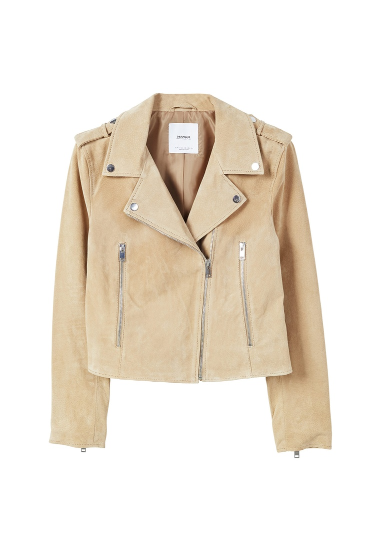 Suede Jacket Mango Medium Brown Biker xHqwwaZY