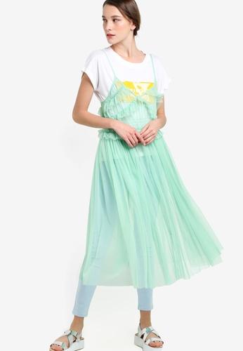 Mango green Tulle Dress MA193AA61KJYMY_1