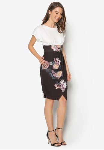 寬袖撞色花卉連身esprit china裙, 服飾, 洋裝