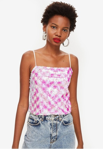 TOPSHOP white and pink Sequin Cami Top F43D6AA01D785EGS_1
