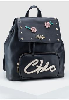 c4f37a2730 Love Moschino black Soft Calf Chic Backpack 7F0E3AC2C93639GS_1