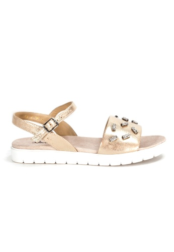 Shu Talk gold Charmmy Comfy Sandals with ankle straps C48B9SH0889A9CGS_1