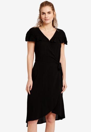 LC Waikiki black Ruffle Detailed Double Breasted Crepe Dress 0D863AA5E54B27GS_1